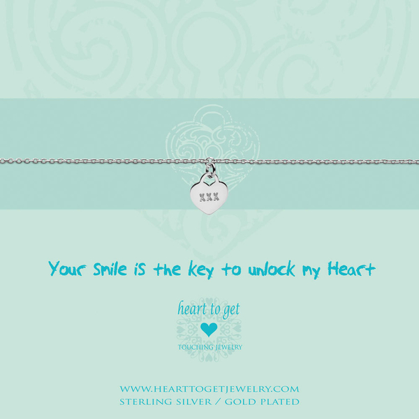 Your smile is the key... armband zilver