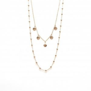 Double Necklace Dots 5 Discus Rosegold