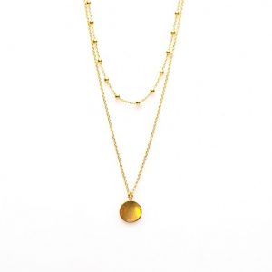 Double Necklace Dots Disc Goldplated