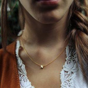 Set collier met letter goud