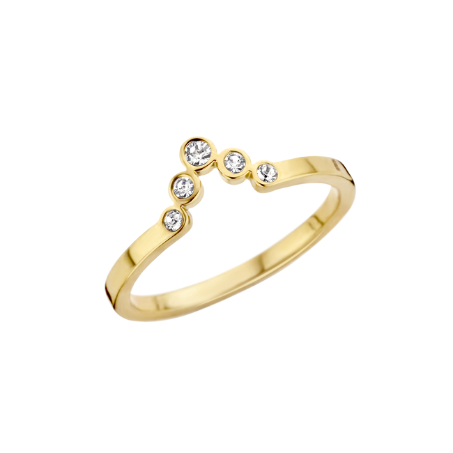 friends pointed cz ring goudkleurig