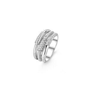Ti Sento ring - De ring lijkt te bestaan uit drie smalle ringetjes maar zijn verwerkt in één design. De verschillende banden hebben ieder een andere afwerking. - Te koop bij Sparnaaij Juweliers in Aalsmeer en Hoofddorp