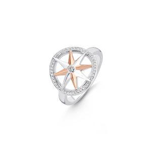Ti Sento ring - Zilveren ring met haar rosé goud vergulde windroos en witte zirkonia stenen. - Te koop bij Sparnaaij Juweliers in Aalsmeer en Hoofddorp