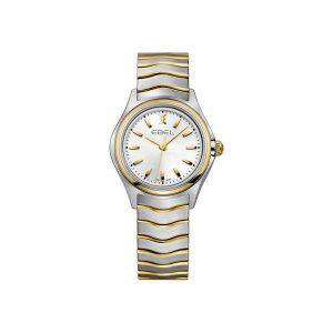 Dames horloge uit de Ebel Wave collection - uitgevoerd met bicolour kast en band en een witte wijzerplaat - De Ebel collectie is verkrijgbaar bij Sparnaaij juweliers in Aalsmeer