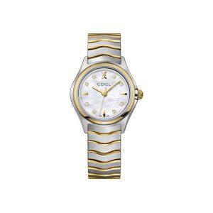 Dames horloge uit de Ebel Wave collection - uitgevoerd met een bicolour band en kast en een parelmoer wijzerplaat - De Ebel collectie is verkrijgbaar bij Sparnaaij Juweliers in Aalsmeer