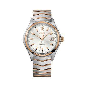Heren horloge uit de Ebel Wave collection - uitgevoerd met een bicolour kast en band en een zilverkleurige wijzerplaat - dit model is voorzien van een automatisch uurwerk - De Ebel collectie is verkrijgbaar bij Sparnaaij Juweliers in Aalsmeer