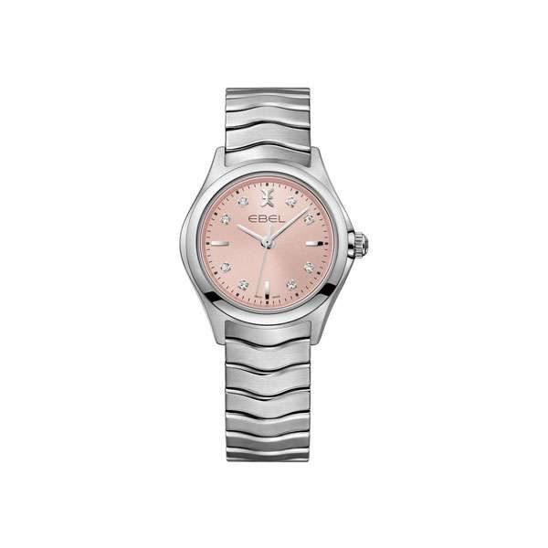 Dames horloge uit de Ebel Wave collection - uitgevoerd met stalen kast en band en roze wijzerplaat - De Ebel collectie is verkrijgbaar bij Sparnaaij Juweliers in Aalsmeer