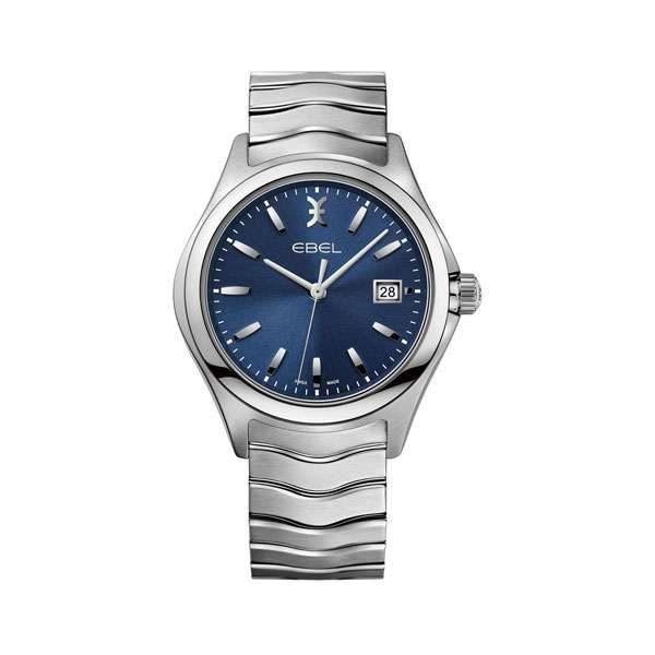 Heren horloge uit de Ebel Wave collection - uitgevoerd met stalen band en kast en een blauwe wijzerplaat - waterdicht tot 50 meter - De Ebel collectie is verkrijgbaar bij Sparnaaij Juweliers in Aalsmeer