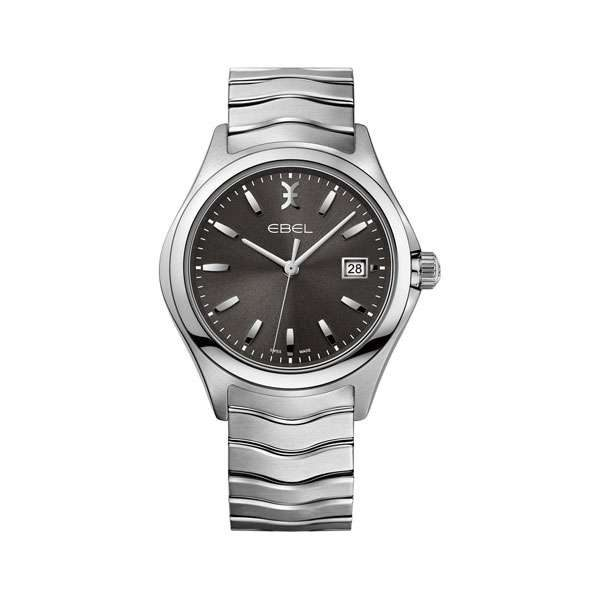 Heren horloge uit de Ebel Wave collection - uitgevoerd met stalen kast en band en een grijze wijzerplaat - De Ebel collectie is verkrijgbaar bij Sparnaaij Juweliers in Aalsmeer