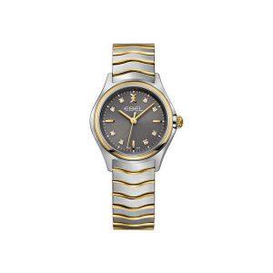 Dames horloge uit de Ebel Wave collection - uitgevoerd met bicolour band en kast en een grijze wijzerplaat met diamant - De Ebel collectie is verkrijgbaar bij Sparnaaij Juweliers in Aalsmeer