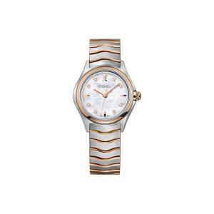 Dames horloge uit de Ebel Wave collection - uitgevoerd met bicolour kast en band en een parelmoer wijzerplaat - De Ebel collectie is verkrijgbaar bij Sparnaaij Juweliers in Aalsmeer