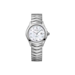 Dames horloge uit de Ebel Wave Lady collection - uitgevoerd met stalan band en kast, parelmoer wijzerplaat en een automatisch uurwerk - De Ebel collectie is verkrijgbaar bij Sparnaaij Juweliers in Aalsmeer
