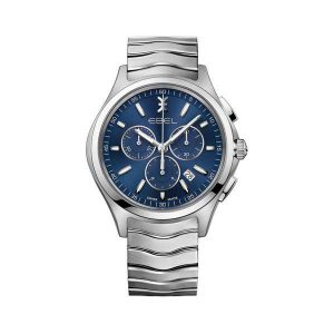 Heren horloge uit de Ebel Wave Gent Chronograh collection - uitgevoerd met stalen band en kast, een blauwe wijzerplaat en chronograph - De Ebel Collectie is verkrijgbaar bij Sparnaaij Juweliers in Aalsmeer