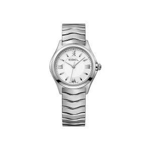 Dames horloge uit de Ebel Wave collection - uitgevoerd met stalen band en kast en een zilverkleurige wijzerplaat - De Ebel collectie is verkrijgbaar bij Sparnaaij Juweliers in Aalsmeer