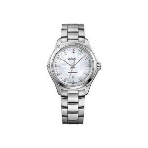 Dames horloge uit de Ebel Discovery collection - uitgevoerd met stalen band en kast en een parelmoer wijzerplaat - De Ebel collectie is verkrijgbaar bij Sparnaaij Juweliers in Aalsmeer