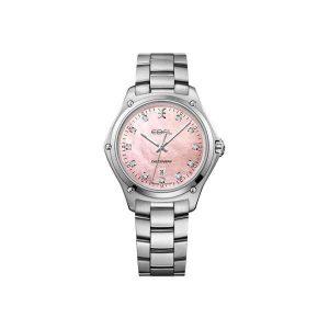 Dames horloge uit de Ebel Discovery collection - uitgevoerd met een stalen band en kast en een roze parelmoer wijzerplaat - dit model is waterdicht tot 100 meter - De Ebel collectie is verkrijgbaar bij Sparnaaij Juweliers in Aalsmeer