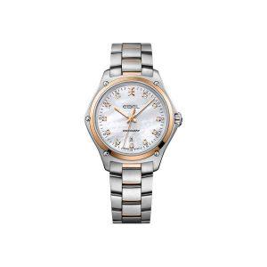 Dames horloge uit de Ebel Discovery collection - uitgevoerd met staal gouden kast en band - een parelmoer wijzerplaat met diamant en waterdicht tot 100 meter - De Ebel collectie is verkrijgbaar bij Sparnaaij Juweliers in Aalsmeer