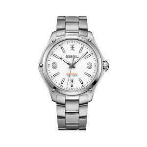 Heren horloge uit de Ebel Discovery collection - uitgevoerd met stalen band en kast en een witte wijzerplaat - De Ebel collectie is verkrijgbaar bij Sparnaaij Juweliers in Aalsmeer