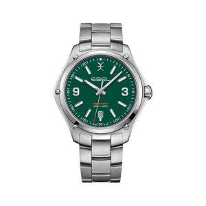 Heren horloge uit de Ebel Discovery collection - uitgevoerd met stalen band en groene wijzerplaat - dit model is tot 100 meter waterdicht - De Ebel collectie is verkrijgbaar bij Sparnaaij Juweliers in Aalsmeer