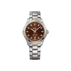 Dames horloge uit de Ebel Discovery Lady collection - uitgevoerd met bicolour band en kast en een bruine wijzerplaat - De Ebel collectie is verkrijgbaar bij Sparnaaij Juweliers in Aalsmeer