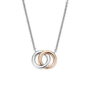 Ti Sento Collier - Het collier heeft twee cirkels die door elkaar heen lopen. Een van de cirkels is voorzien van een 18k roségouden plating. - Koopt u bij Sparnaaij Juweliers in Hoofddorp en Aalsmeer