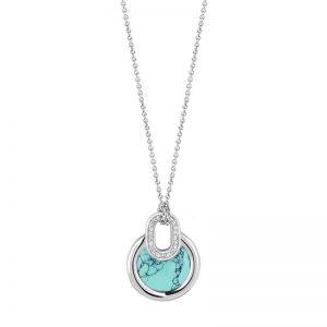 Ti Sento collier - Zilveren collier met turquoise steen en pavé witte zirkonia