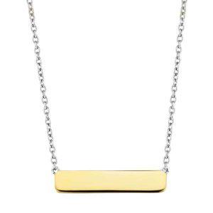 Ti Sento Collier - Het collier is gemaakt van gerhodineerd sterling zilver en voorzien van een rechthoekige hanger. Daarnaast is de hanger voorzien van een 18kt geelgouden plating. - Koopt u bij Sparnaaij Juweliers in Hoofddorp en Aalsmeer