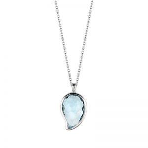 Ti Sento collier - Zilveren collier met een lichte heldere blauwe steen - Te koop bij Sparnaaij Juweliers in Aalsmeer en Hoofddorp