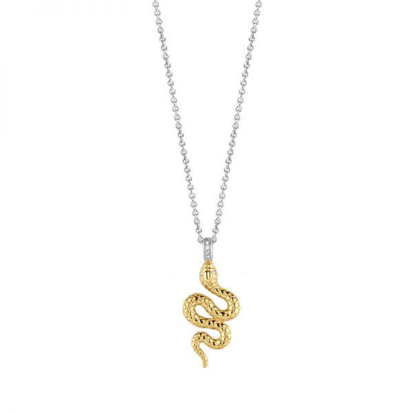 Ti Sento collier - Zilveren collier met een goudkleurige slang - Te koop bij Sparnaaij in Aalsmeer en Hoofddorp