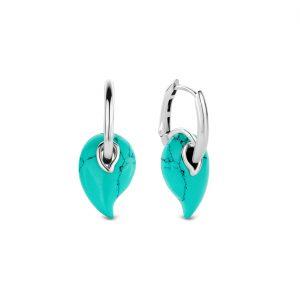 Ti Sento oorhangers - Zilveren oorhangers met paisley vormige, turquoise stenen - Te koop bij Sparnaaij Juweliers in Aalsmeer en Hoofddorp