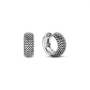 Ti Sento creolen - Zilveren creolene met een gevlochten patroon - Te koop bij Sparnaaij Juweliers in Aalsmeer en Hoofddorp