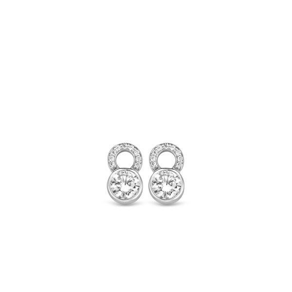 Ti Sento oorbedels - oorbedels vormt de gladomzetting, waarin de briljant geslepen witte zirkonia's met de hand zijn gezet. - koopt u bij Sparnaaij Juweliers in Aalsmeer en Hoofddorp