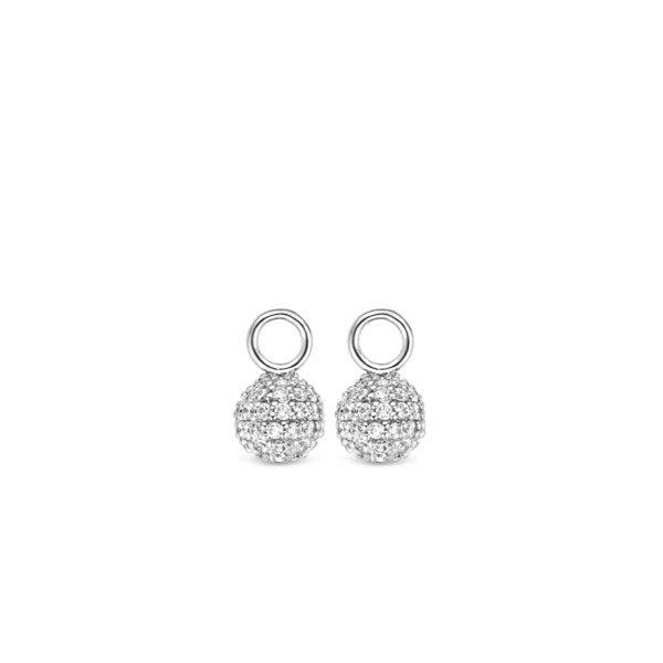 Ti Sento oorbedels - Een bol van briljant geslepen zirkonia's vormt het middelpunt van deze TI SENTO - Milano oorbedels.- koopt u bij Sparnaaij Juweliers in Aalsmeer en Hoofddorp