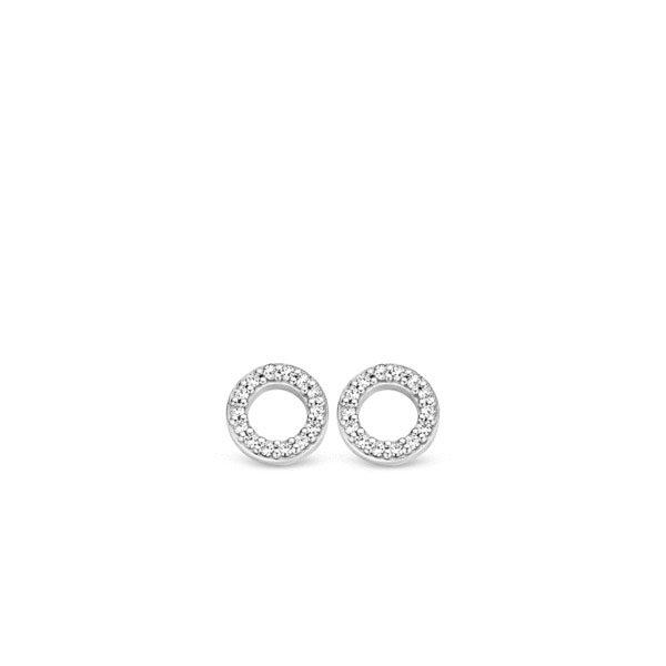 Ti Sento oorbedels - oorbedels zijn een cirkel van pavé gezette briljant geslepen zirkonia's. - koopt u bij Sparnaaij Juweliers in Aalsmeer en Hoofddorp