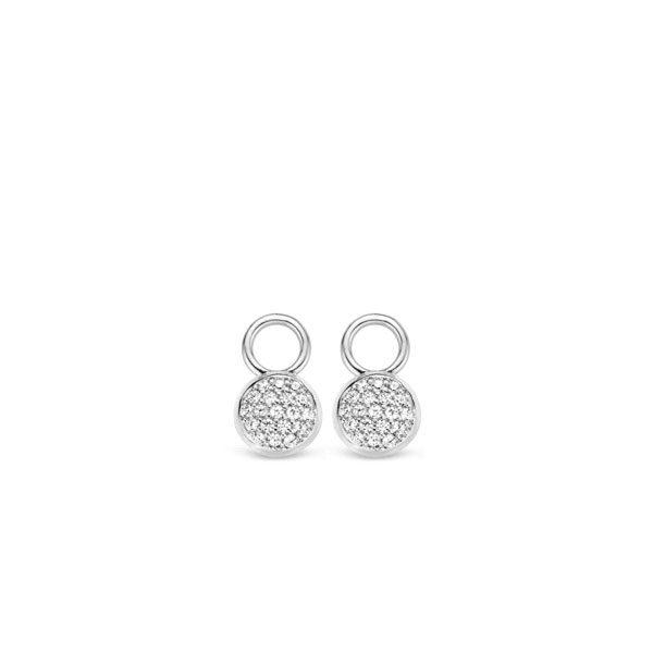 Ti Sento oorbedels - Een schijf van briljant geslepen zirkonia's die met de hand zijn gezet. - koopt u bij Sparnaaij Juweliers in Aalsmeer en Hoofddorp