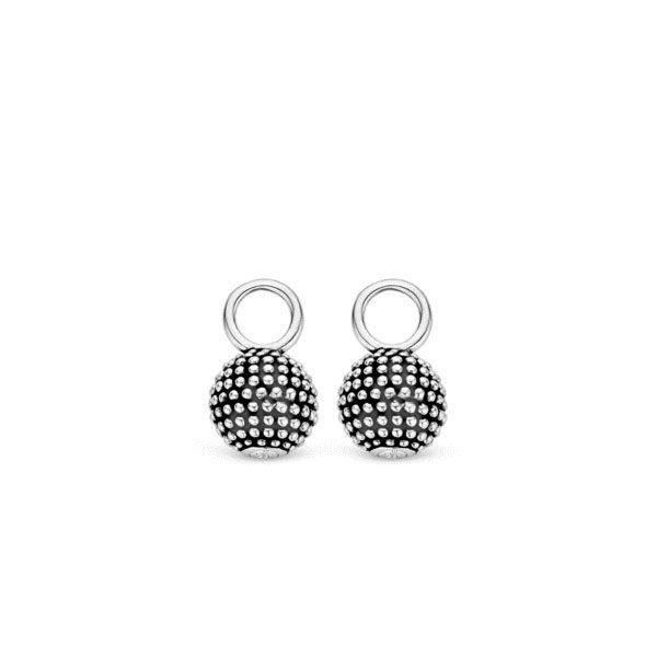 Ti Sento oorbedels - deze elegante oorbedels uitgevoerd in gerhodineerd sterling zilver en zwarte oxidatie. - koopt u bij Sparnaaij Juweliers in Aalsmeer en Hoofddorp