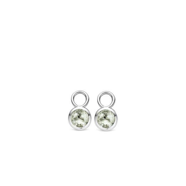 Ti Sento oorbedels - De grijsgroene zirkonias die in deze set TI SENTO - Milano oorbedels zijn verwerkt, zijn geslepen in een ronde vorm. De bezel zetting rond de zirkonia's van gerhodineerd sterling zilver zorgt voor een simpele doch elegante look. - koopt u bij Sparnaaij Juweliers in Aalsmeer en Hoofddorp