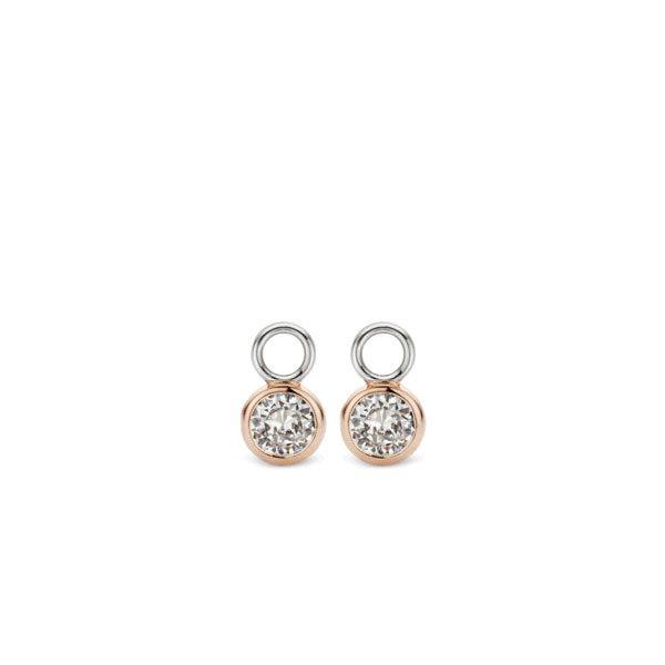 Ti Sento oorbedels - De oorbedels zijn gezet met briljantgeslepen zirkonia's in een 18k roségoud vergulde zetting. - koopt u bij Sparnaaij Juweliers in Aalsmeer en Hoofddorp