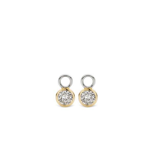 Ti Sento oorbedels - De oorbedels zijn gezet met zirkonia's in een 18k geelgouden zetting. - koopt u bij Sparnaaij Juweliers in Aalsmeer en Hoofddorp