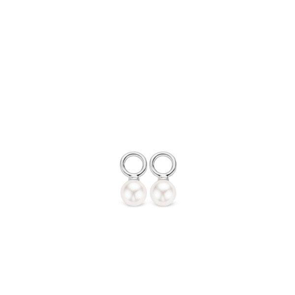 Ti Sento oorbedels - oorbedels bestaan uit kleine witte Swarovski parels met een diameter van 6mm. - koopt u bij Sparnaaij Juweliers in Aalsmeer en Hoofddorp