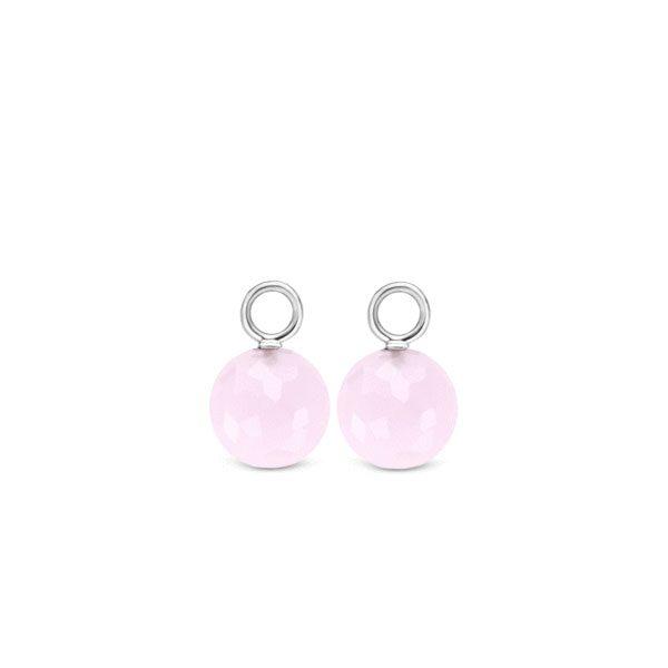Ti Sento oorbedels - De gefacetteerde roze crystals kunnen zowel los gedragen worden als dat zij de achtergrond vormen voor een andere oorbedel. - koopt u bij Sparnaaij Juweliers in Aalsmeer en Hoofddorp