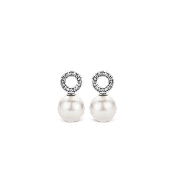 Ti Sento oorbedels - Deze oorbedels zijn gemaakt van gerhodineerd sterling zilver en zijn gezet met zirkonia's. - koopt u bij Sparnaaij Juweliers in Aalsmeer en Hoofddorp