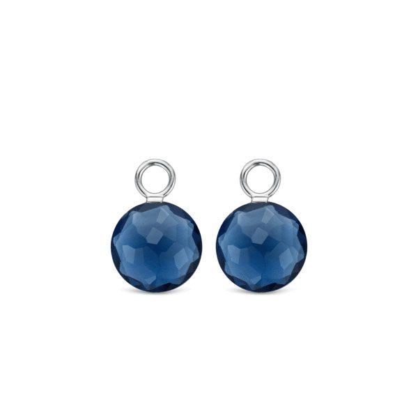 Ti Sento oorbedels - De sterling zilveren oorbedels zijn gezet met donkerblauwe kristals. - koopt u bij Sparnaaij Juweliers in Aalsmeer en Hoofddorp