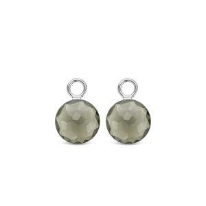 Ti Sento oorbedels - Deze sterling zilveren oorbedels zijn gezet met transparante groene kristals. - koopt u bij Sparnaaij Juweliers in Aalsmeer en Hoofddorp