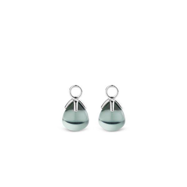 Ti Sento oorbedels - Onze iconische grijsgroene flowerbuds pendanten hangen met trots. Hun egaal geslepen stenen zijn verfijnd met karakter. - koopt u bij Sparnaaij Juweliers in Aalsmeer en Hoofddorp
