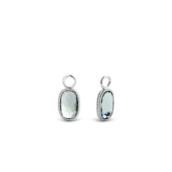 Ti Sento oorbedels - Schitterend elegante oorbedels. Deze bosgroene rechthoekig gefacetteerde stenen zijn vakkundig omhuld met gevlochten zilver. Een stille schoonheid. - koopt u bij Sparnaaij Juweliers in Aalsmeer en Hoofddorp