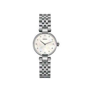 Dames horloge uit de Rado Coupole collection - uitgevoerd met een stalen kast en band - een parelmoer wijzerplaat voorzien van diamant - De Rado collection is verkrijgbaar bij Sparnaaij Juweliers in Aalsmeer