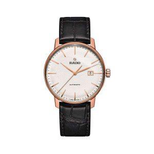 Heren horloge uit de Rado Coupole Classic collection - uitgevoerd met automatisch uurwerk, Rose/PVD kast, witte wijzerplaat en bruin lederen band - De Rado collectie is verkrijgbaar bij Sparnaaij Juweliers in Aalsmeer