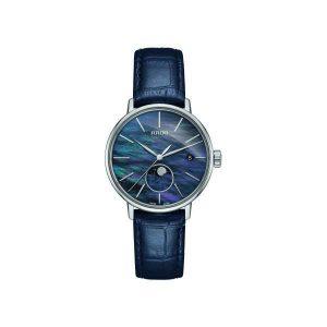 Dames horloge uit de Rado Coupole Classic collection - uitgevoerd met een blauwe parelmoer wijzerplaat met Maanphase en een blauw lederen band - De Rado collectie is verkrijgbaar bij Sparnaaij Juweliers in Aalsmeer