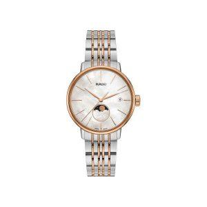 Dames horloge uit de Rado Coupole Classic collection - uitgevoerd met een bicolour kast en band - parelmoer wijzerplaat met maanphase - De Rado coupole collectie is verkrijgbaar bij Sparnaaij Juweliers in Aalsmeer